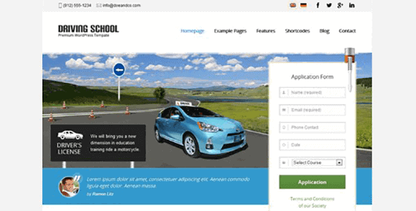 Driving School – Theme For Small Business