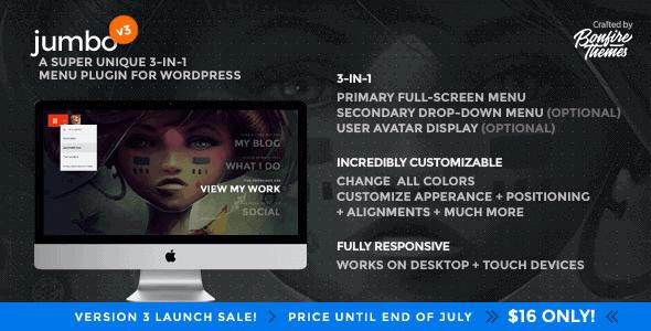 Jumbo – A 3-In-1 Full-Screen Menu For Wordpress