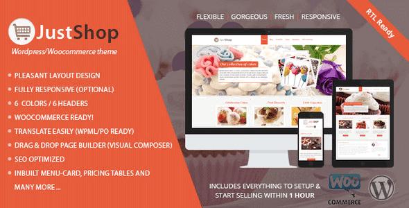 Justshop – Cake Bakery Wordpress Theme