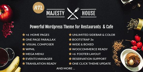 Majesty – Restaurant Woocommerce Wordpress Theme
