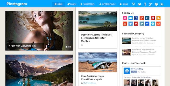 Pinstagram – Pinterest Inspired Wordpress Theme