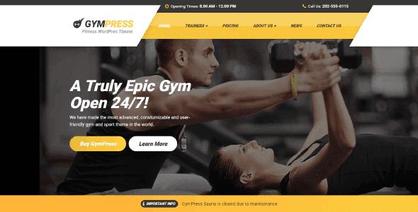 Gympress – Wordpress Theme For Local Gym