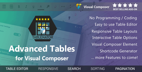 Tablenator – Advanced Tables For Visual Composer