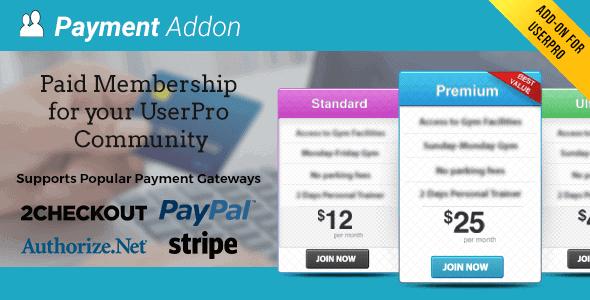 Userpro Payment Addon