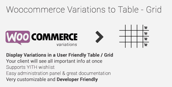 Woocommerce Variations To Table-Grid