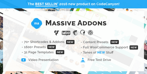 Massive Addons – Uber Visual Composer Extension + Bober Theme 2.0.1 + Psd