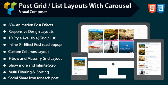 Visual Composer Post Grid List Layout With Carousel